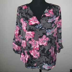 Aqua Gray with Pink Flowers Blouse Size Small
